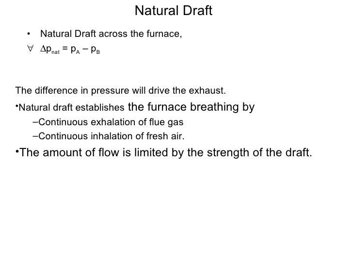 Natural Draft <ul><li>Natural Draft across the furnace,  </li></ul><ul><li> p nat  = p A  – p B </li></ul><ul><li>The dif...