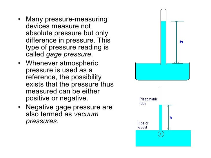 <ul><li>Many pressure-measuring devices measure not absolute pressure but only difference in pressure. This type of pressu...