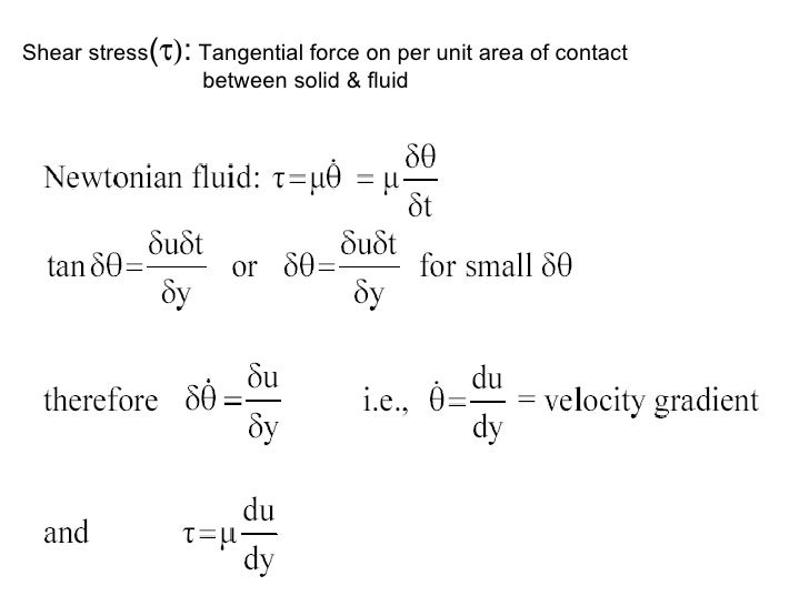 Shear stress (  :  Tangential force on per unit area of contact    between solid & fluid