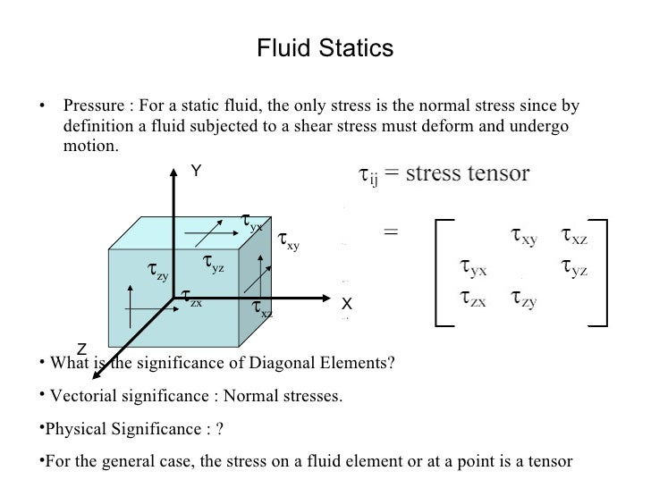 Fluid Statics <ul><li>Pressure : For a static fluid, the only stress is the normal stress since by definition a fluid subj...