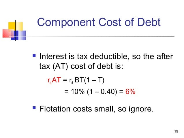 should flotation costs be included in the component cost of debt calculation Should the component costs be figured on a coleman's debt and its component cost of debt coleman's overall, or weighted average, cost of.