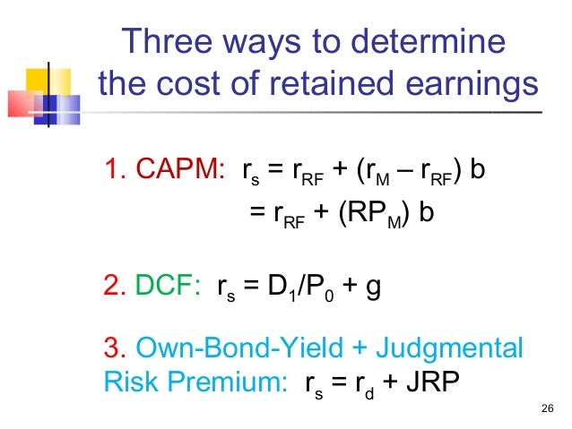 cost of retained earnings You were hired as a consultant to the quigley company, whose target capital structure is 35% debt, 10% preferred, and 55% common equity the interest rate on new debt is 650%, the yield on the preferred is 600%, the cost of common from retained earnings is 1125%, and the tax rate is 40% the firm.