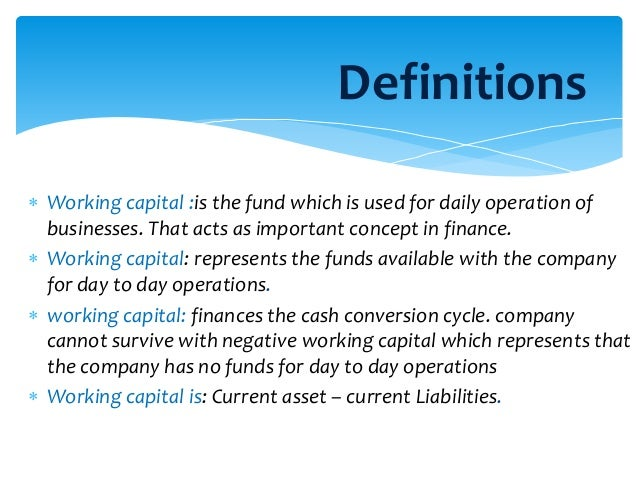 working capital analysis Working capital management is process of managing short-term assets & liabilities for smooth operation of a company know about working capital management formulas, applicability, analysis, ratio and much more.