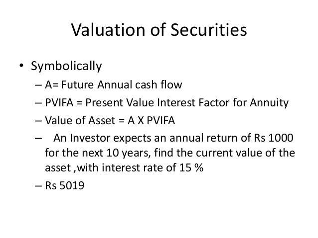 valuation of securities Slide 3