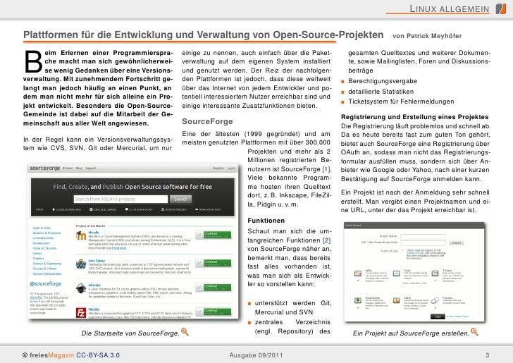 L INUX ALLGEMEINPlattformen für die Entwicklung und Verwaltung von Open-Source-Projekten                                  ...