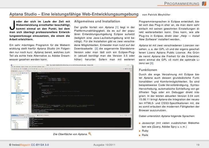 P ROGRAMMIERUNGAptana Studio – Eine leistungsfähige Web-Entwicklungsumgebung                                              ...