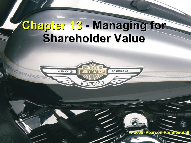 Chapter 13  - Managing for Shareholder Value    2005, Pearson Prentice Hall