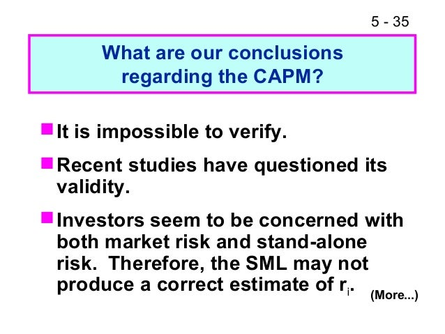 capm problem In finance, the capital asset pricing model (capm) is a model used to determine a theoretically appropriate required rate of return of an asset, to make decisions about adding assets to a well-diversified portfolio overview the model  problems in their 2004 review,.