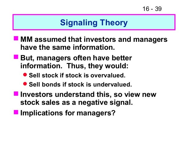 signaling theory Journal of business studies quarterly 2012, vol 3, no 4, pp 105-118 issn 2152-1034 the signaling hypothesis: evidence from the.