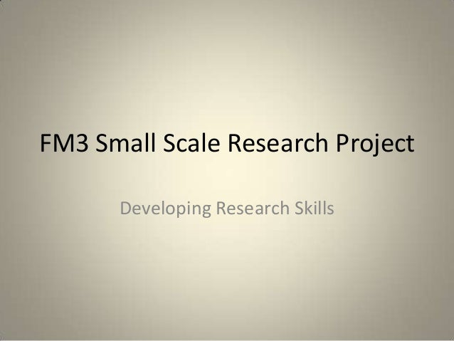 FM3 Small Scale Research Project      Developing Research Skills