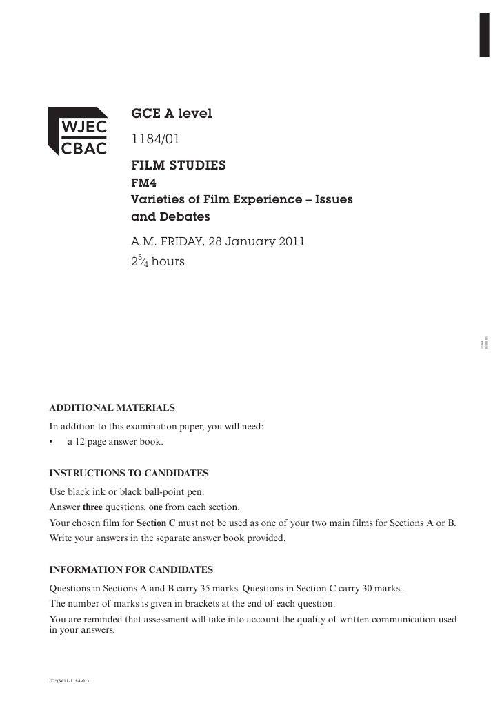 GCE A level                     1184/01                     FILM STUDIES                     FM4                     Varie...