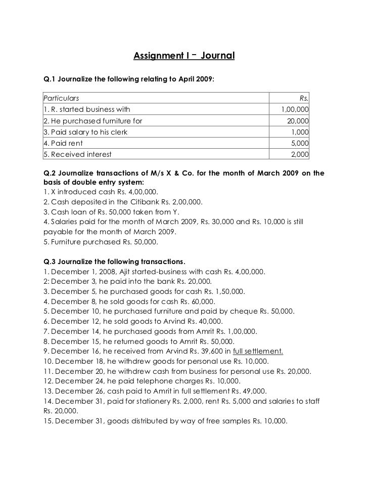 fma financial and management accounting assignments assignment i journalq 1 journalize the following relating to 2009 particulars