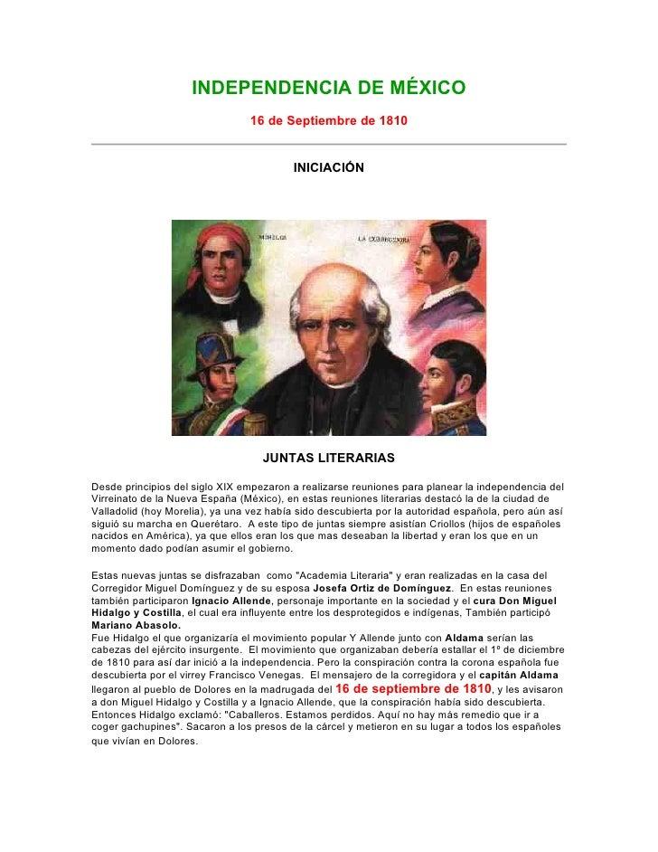 INDEPENDENCIA DE MÉXICO                                  16 de Septiembre de 1810                                         ...