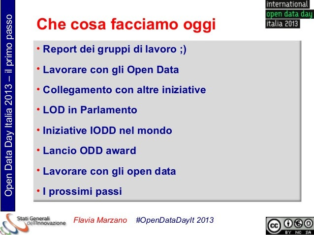 Open Data Day Italia 2013 – il primo passo                                             Che cosa facciamo oggi             ...