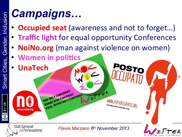 Smart Cities, Gender, Inclusion  Campaigns… • • • • •  Occupied  seat  (awareness  and  not  to  forget…)...
