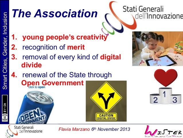 Smart Cities, Gender, Inclusion  The Association 1. young people's creativity 2. recognition of merit 3. removal of eve...