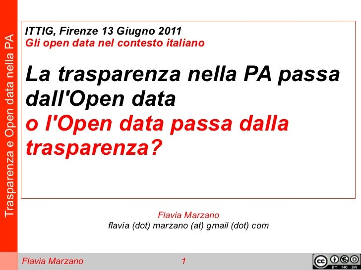 ITTIG, Firenze 13 Giugno 2011Trasparenza e Open data nella PA                                   Gli open data nel contesto...