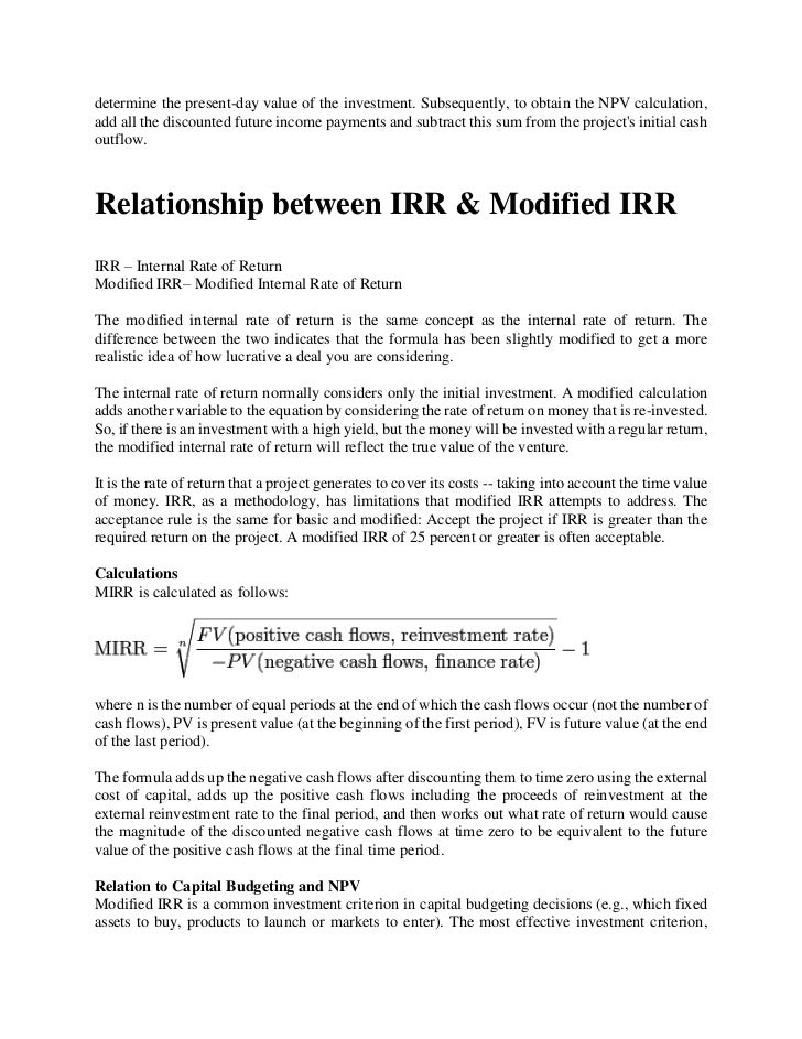 irr and payback period relationship