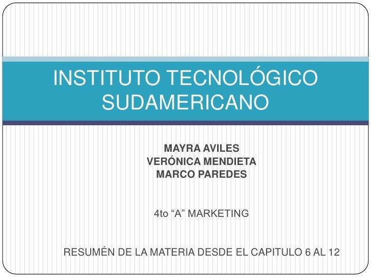 """MAYRA AVILES<br />VERÓNICA MENDIETA<br />MARCO PAREDES<br />4to """"A"""" MARKETING<br />RESUMÉN DE LA MATERIA DESDE EL CAPITULO..."""