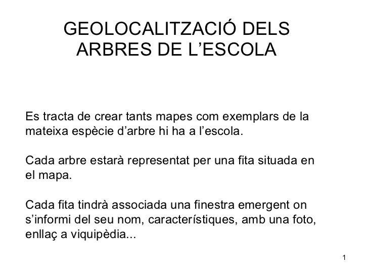 GEOLOCALITZACIÓ DELS ARBRES DE L'ESCOLA Es tracta de crear tants mapes com exemplars de la mateixa espècie d'arbre hi ha a...
