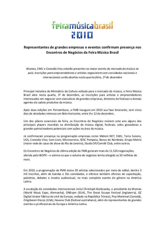 Representantes de grandes empresas e eventos confirmam presença nos Encontros de Negócios da Feira Música Brasil Womex, SW...