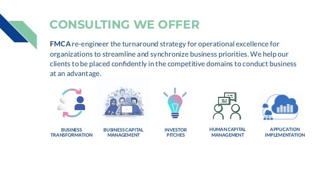 CONSULTING WE OFFER BUSINESS TRANSFORMATION FMCA re-engineer the turnaround strategy for operational excellence for organi...