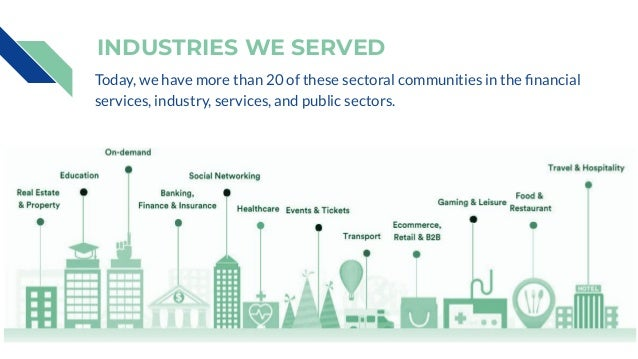 INDUSTRIES WE SERVED Today, we have more than 20 of these sectoral communities in the financial services, industry, service...
