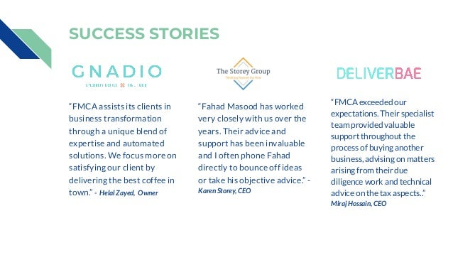 """SUCCESS STORIES Application Implementation & Execution """"FMCA assists its clients in business transformation through a uniq..."""