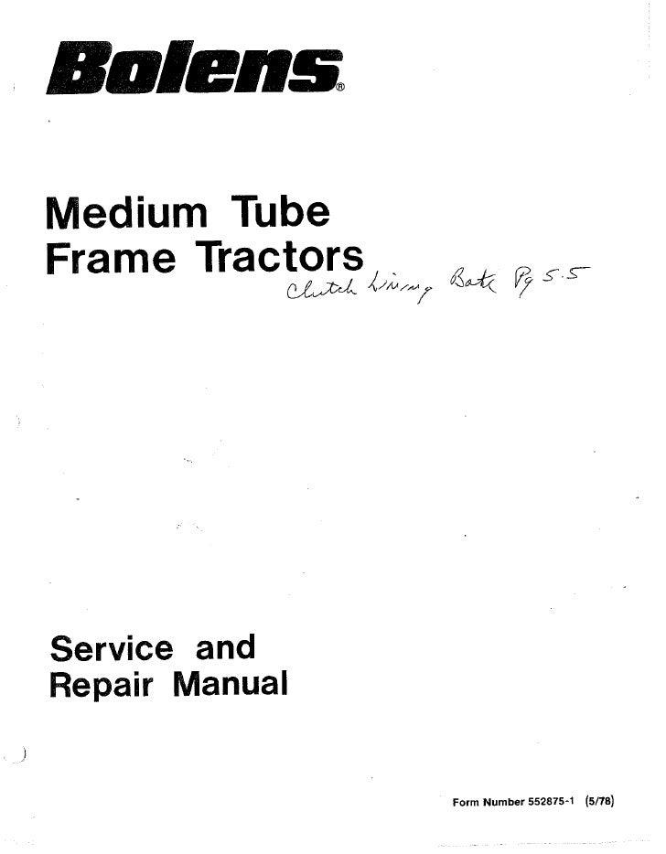 fmc bolens medium tube frame husky tractors service manual for model rh slideshare net