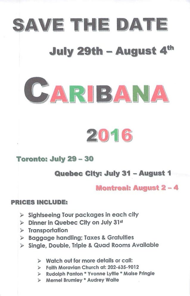 SAVE THE DAT! July 29th - August 4 th 20169 Toronto: July 29 - 30 Quebec City: July 31 - August 1 Montreal: August 2-4 PRI...