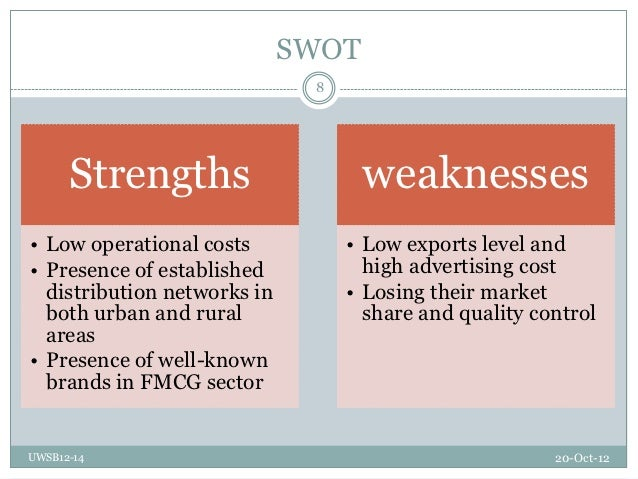 weakness fmcg Itc swot swot analysis itc itc is one of india's biggest and best-known private sector companies the business is now diversifying into new fmcg.