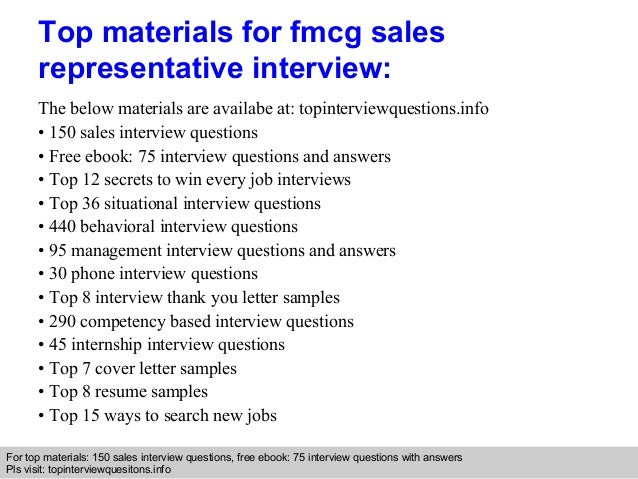 Fmcg sales representative interview questions and answers