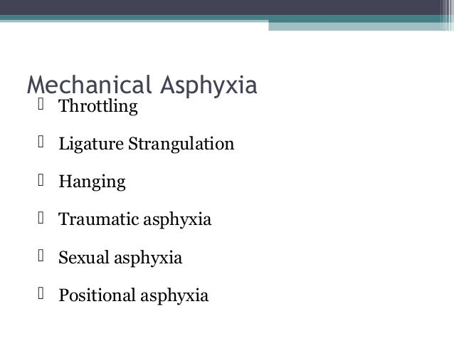 Classify Mechanical Asphyxia; what are specific pathological changes in mech asph, give one point in favour for each type ...