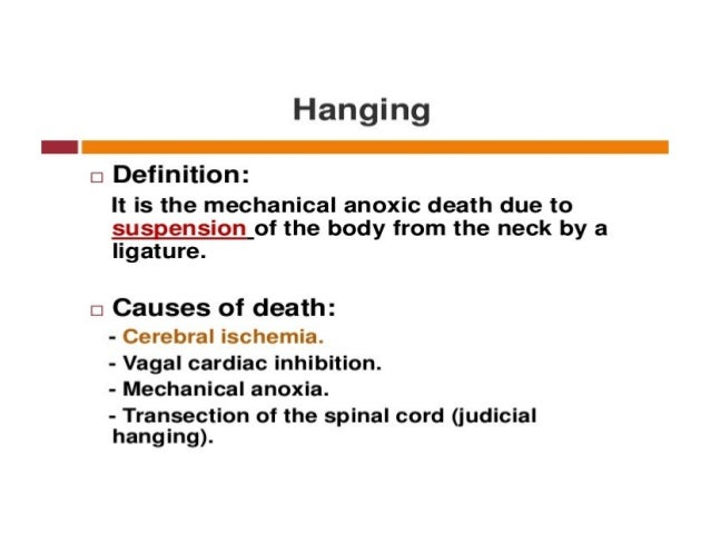 Drowning:-This is due to submersion of the respiratory openings under. .water or any other fluids