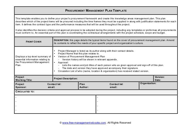 Project management procurement plan template choice image for Procurement document template