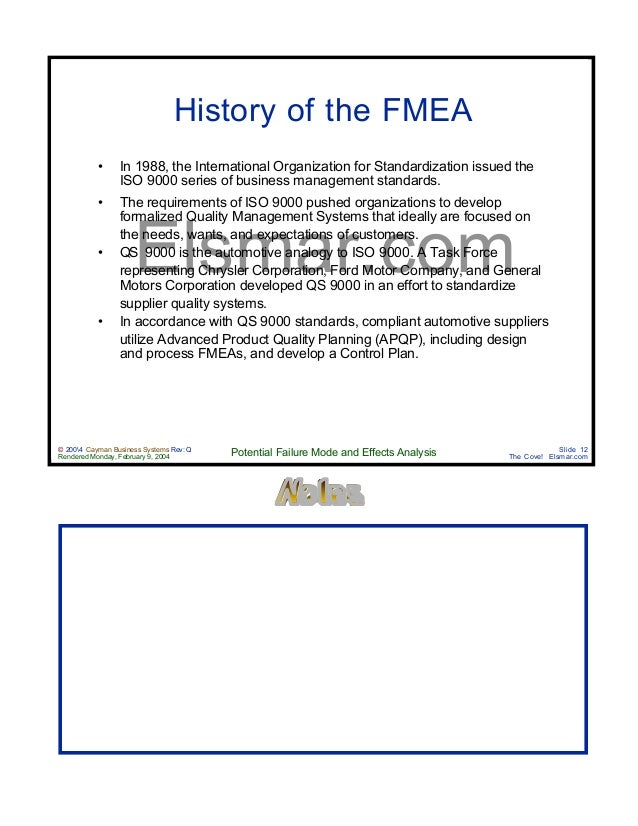Design process fmea manual for Ford motor company risk assessment