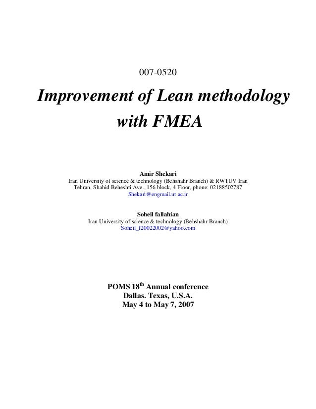 007-0520Improvement of Lean methodology         with FMEA                               Amir Shekari   Iran University of ...