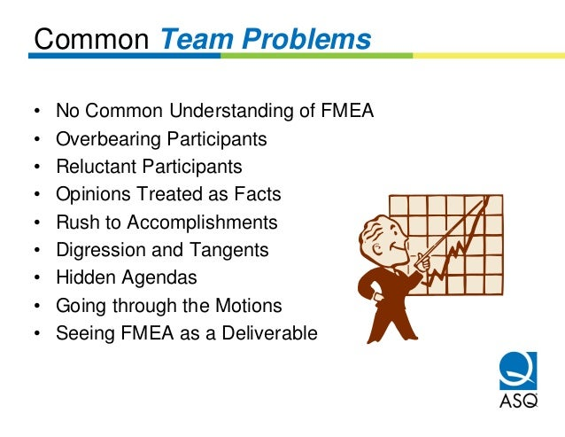 Common Team Problems•   No Common Understanding of FMEA•   Overbearing Participants•   Reluctant Participants•   Opinions ...