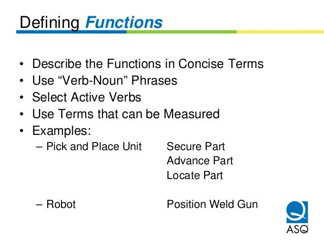 """Defining Functions•   Describe the Functions in Concise Terms•   Use """"Verb-Noun"""" Phrases•   Select Active Verbs•   Use Ter..."""