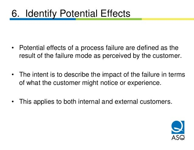 6. Identify Potential Effects• Potential effects of a process failure are defined as the  result of the failure mode as pe...
