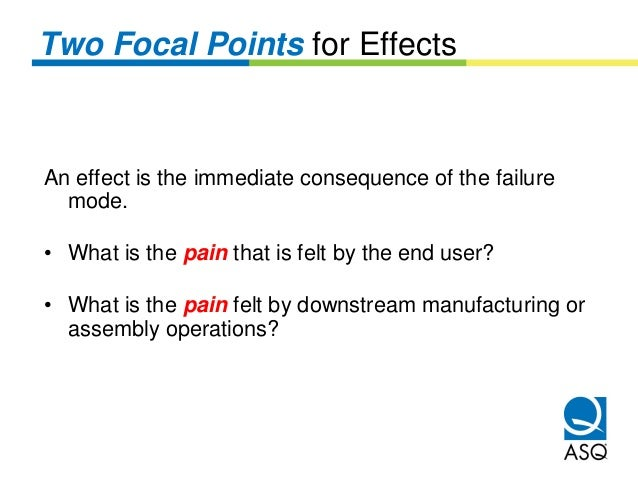 Two Focal Points for EffectsAn effect is the immediate consequence of the failure  mode.• What is the pain that is felt by...
