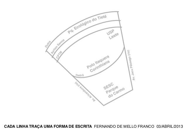 CADA LINHA TRAÇA UMA FORMA DE ESCRITA FERNANDO DE MELLO FRANCO 03/ABRIL/2013