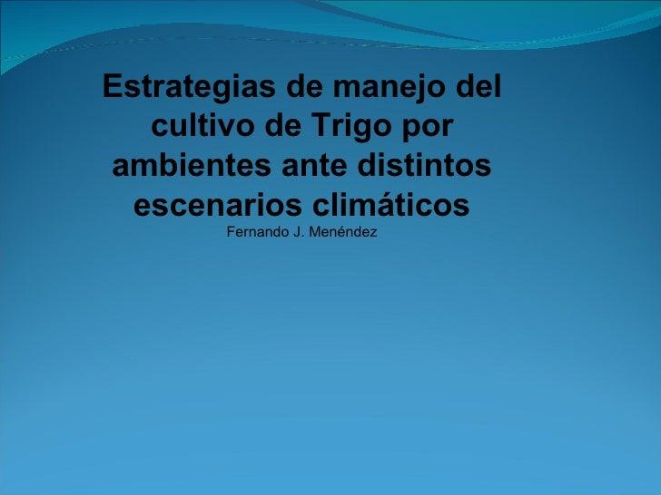 Estrategias de manejo del cultivo de Trigo por ambientes ante distintos escenarios climáticos Fernando J. Menéndez