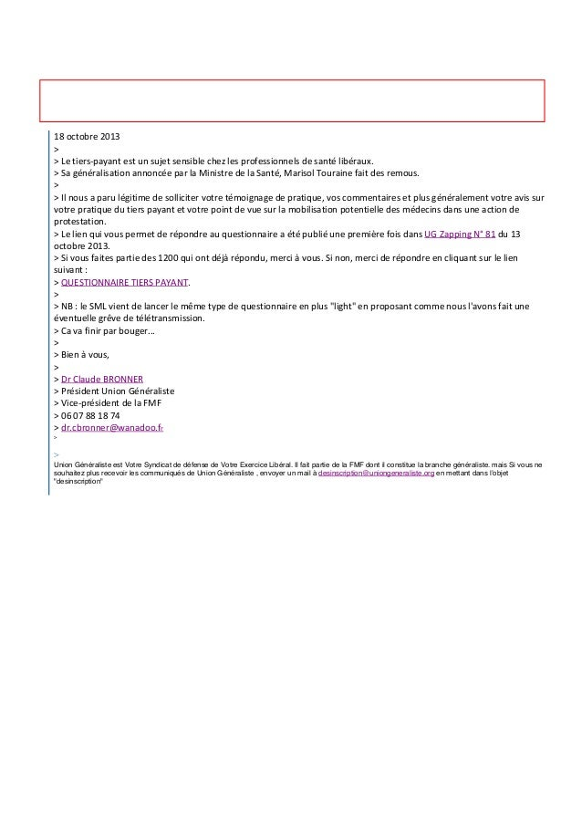 $ Pascal MEICLER <pascalmeicler@sfr.fr> À : $ Pascal MEICLER Fwd: Enquête sur le tiers-payant  20 octobre 2013 08:37  18 ...