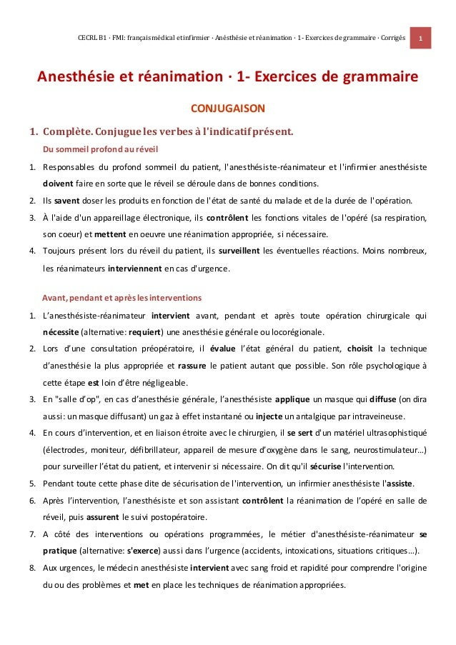 CECRL B1 · FMI: français médical et infirmier · Anésthésie et réanimation · 1- Exercices de grammaire · Corrigés 1 Anesthé...