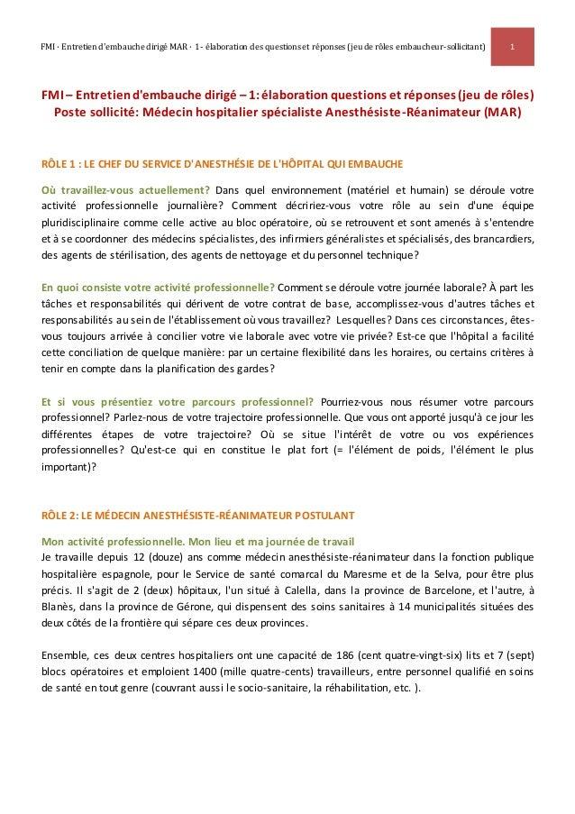 FMI · Entretien d'embauche dirigé MAR · 1- élaboration des questions et réponses (jeu de rôles embaucheur-sollicitant) 1 F...