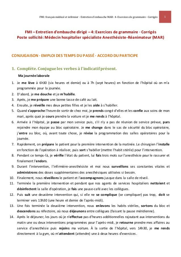 FMI: français médical et infirmier · Entretien d'embauche MAR · 4- Exercices de grammaire · Corrigés 1 FMI – Entretien d'e...