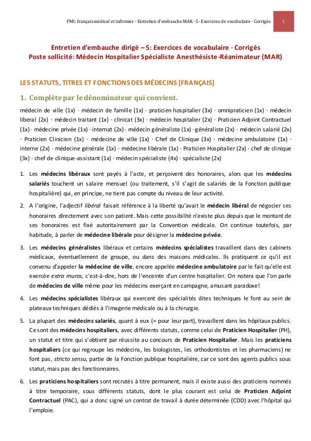 FMI: français médical et infirmier · Entretien d'embauche MAR · 5- Exercices de vocabulaire · Corrigés 1 Entretien d'embau...