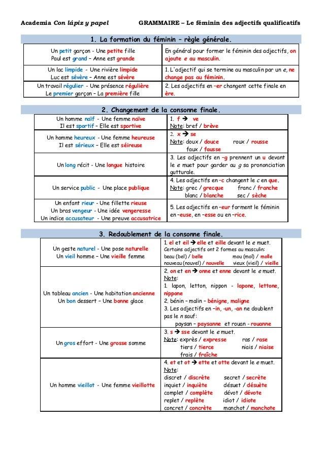 f u00e9minin adjectifs qualificatifs