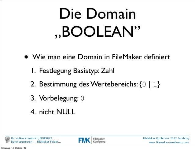 """Die Domain                                       """"BOOLEAN""""                    •     Wie man eine Domain in FileMaker defini..."""